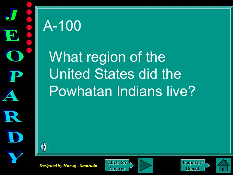 Designed by Harvey Almarode JeopardyBoard A-100 Click for Answer What region of the United States did the Powhatan Indians live?