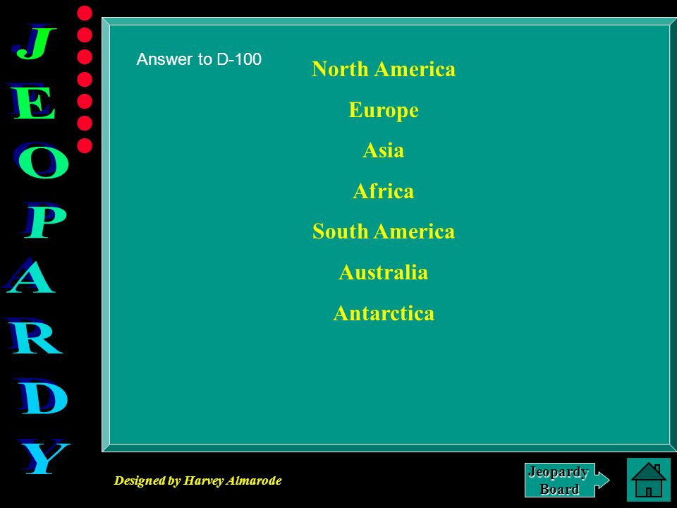 Designed by Harvey Almarode JeopardyBoard Answer to D-100 North America Europe Asia Africa South America Australia Antarctica