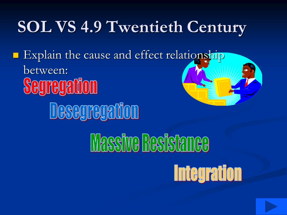 SOL VS 4.9 Twentieth Century Explain the cause and effect relationship between: Explain the cause and effect relationship between: