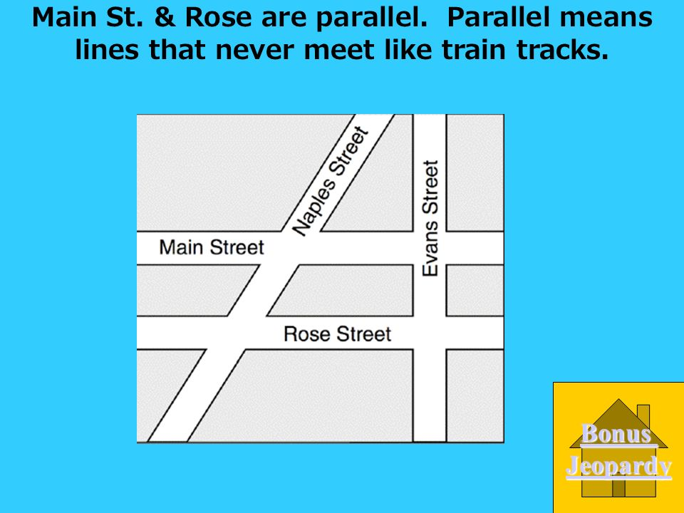 Which 2 streets are parallel. A. Naples & Rose B.