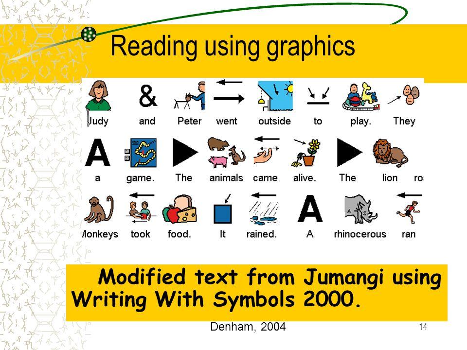 14 Modified text from Jumangi using Writing With Symbols 2000. Reading using graphics Denham, 2004