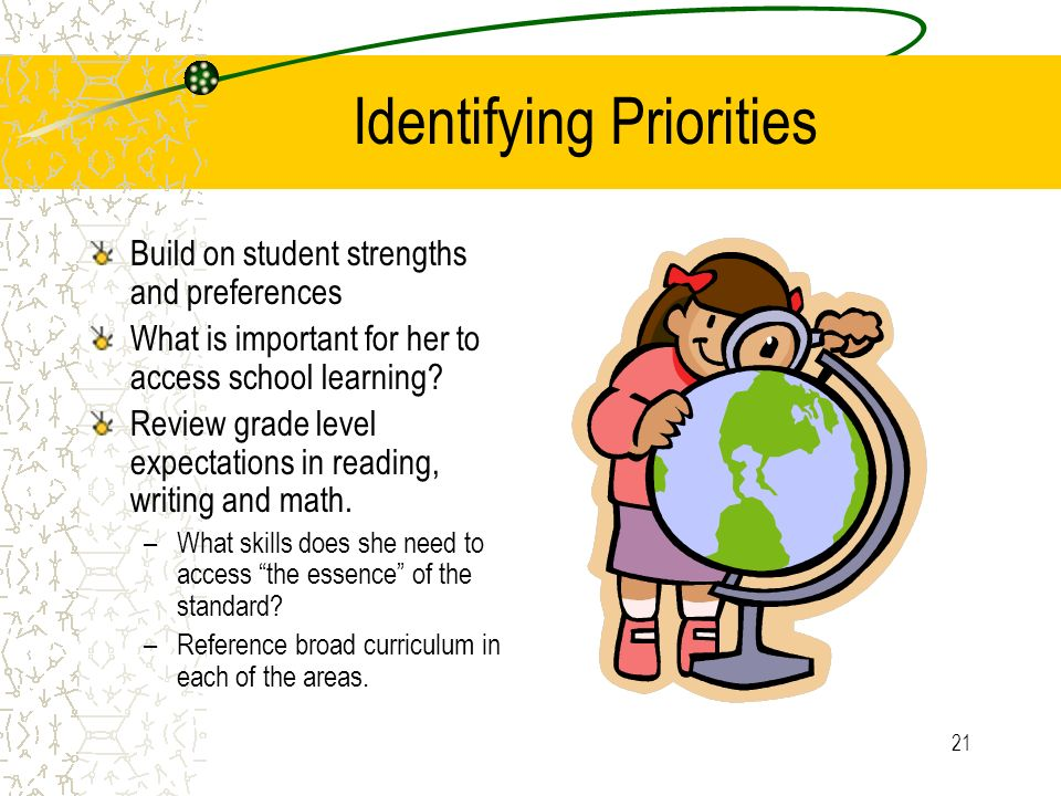 21 Identifying Priorities Build on student strengths and preferences What is important for her to access school learning.