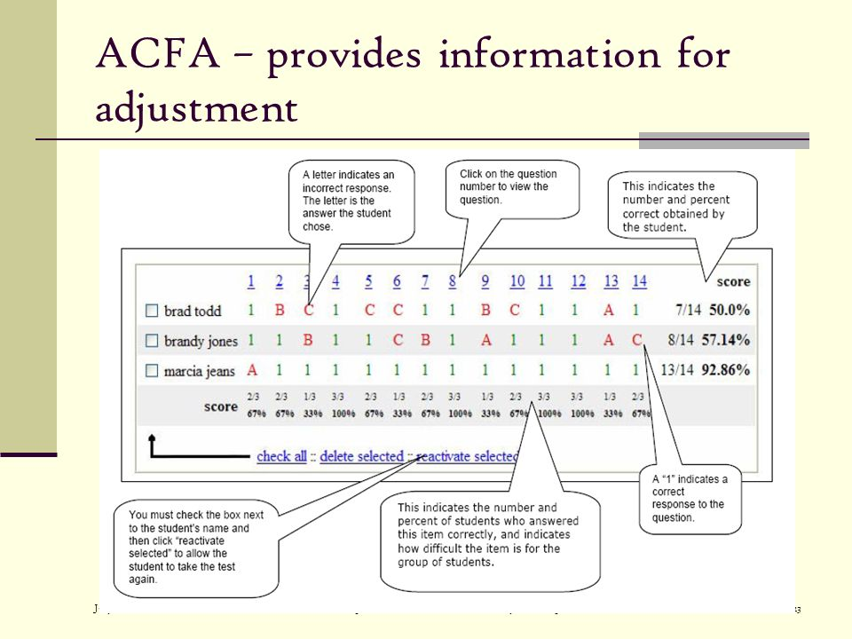 July 2007Alaska Department of Education and Early Development23 ACFA – provides information for adjustment