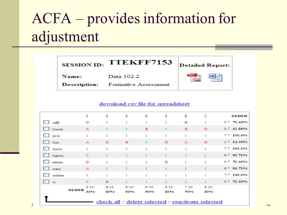 July 2007Alaska Department of Education and Early Development24 ACFA – provides information for adjustment