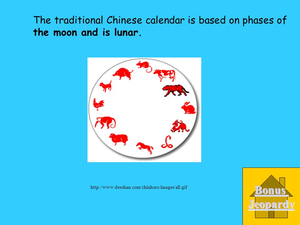 The traditional Chinese calendar is based on phases of________. A. the moon and is lunar B. the sun and is solar C. the stars D. storms http://www.dee
