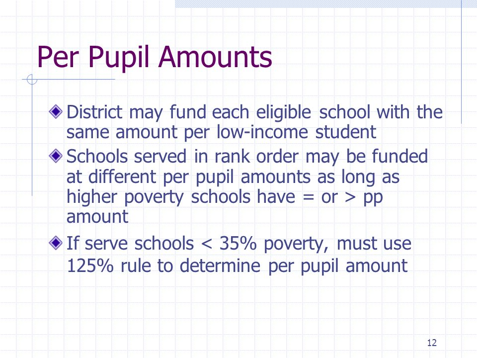 12 Per Pupil Amounts District may fund each eligible school with the same amount per low-income student Schools served in rank order may be funded at different per pupil amounts as long as higher poverty schools have = or > pp amount If serve schools < 35% poverty, must use 125% rule to determine per pupil amount
