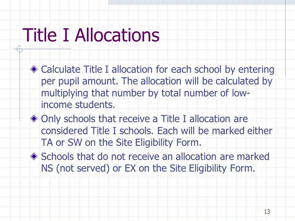 13 Title I Allocations Calculate Title I allocation for each school by entering per pupil amount.