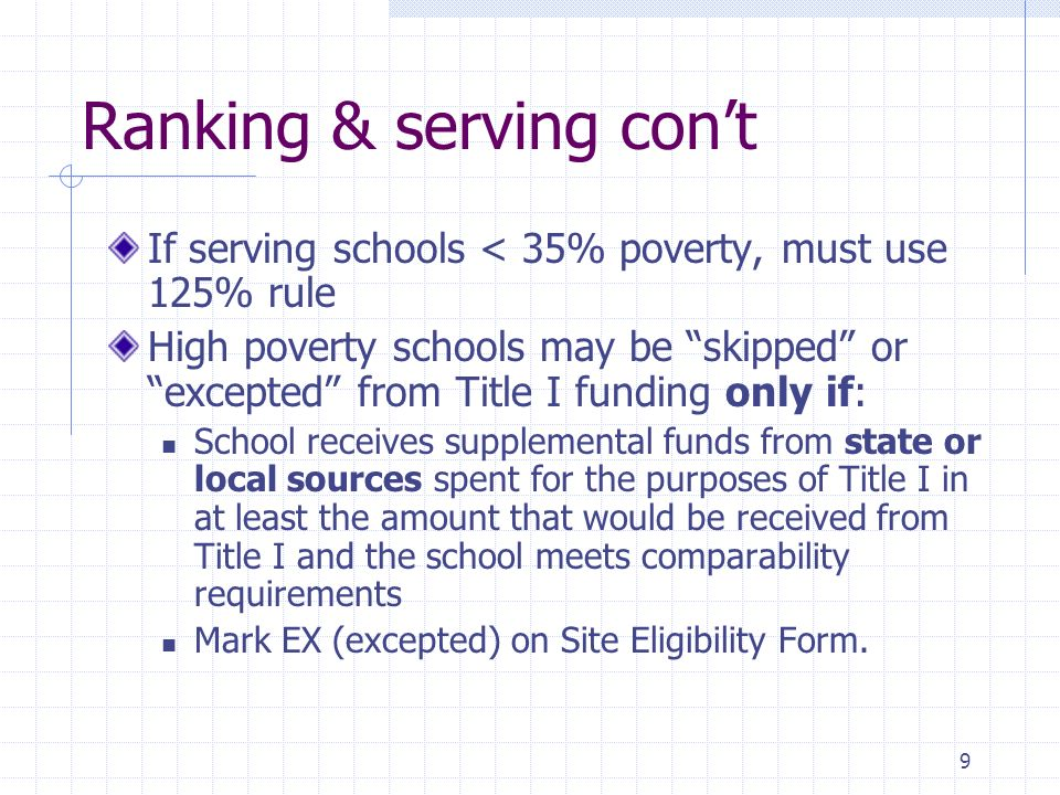 9 Ranking & serving cont If serving schools < 35% poverty, must use 125% rule High poverty schools may be skipped or excepted from Title I funding only if: School receives supplemental funds from state or local sources spent for the purposes of Title I in at least the amount that would be received from Title I and the school meets comparability requirements Mark EX (excepted) on Site Eligibility Form.