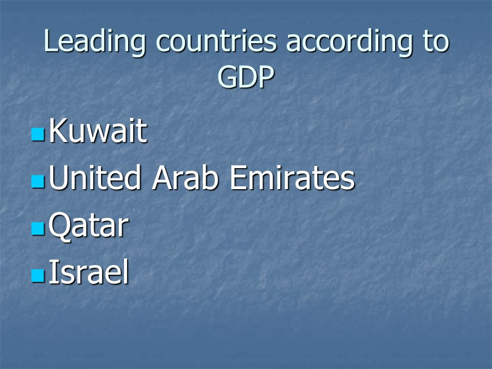 Leading countries according to GDP Kuwait Kuwait United Arab Emirates United Arab Emirates Qatar Qatar Israel Israel