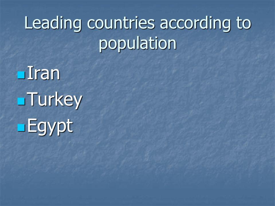 Leading countries according to population Iran Iran Turkey Turkey Egypt Egypt