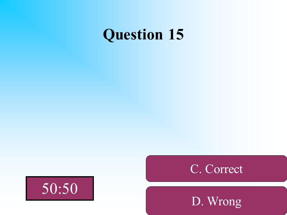 Hint! Question 15 A. Wrong B. WrongD. Wrong C. Correct