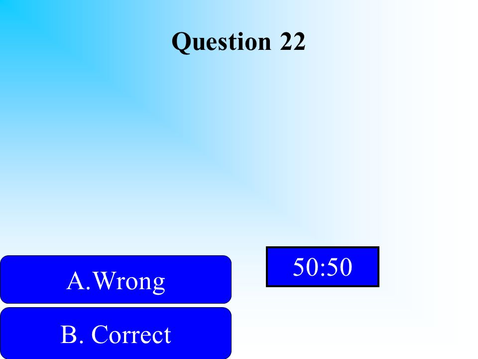 Hint Question 22 A.WrongWrong B. Correct D. Wrong C. Wrong