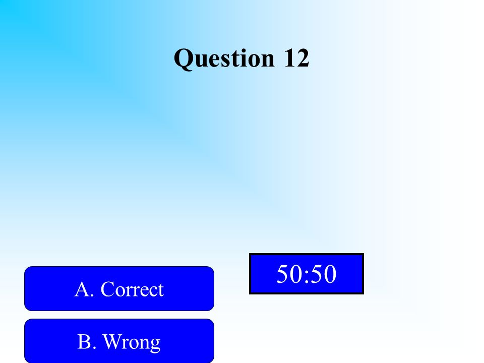 Hint! Question 12 A. Correct B. WrongD. Wrong C. Wrong