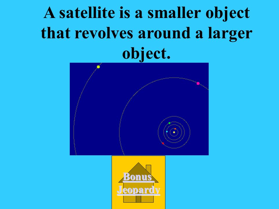 A satellite is B.A smaller object goes around a larger object.