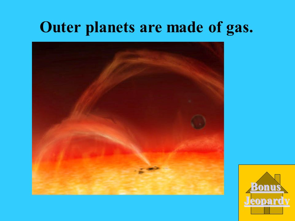 What are the outer planets made of? A. metal D. rock C. gas B. ice
