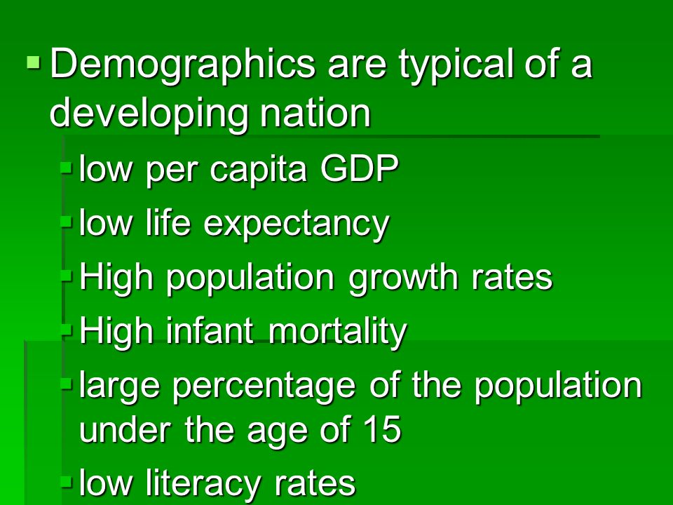Demographics are typical of a developing nation Demographics are typical of a developing nation low per capita GDP low per capita GDP low life expectancy low life expectancy High population growth rates High population growth rates High infant mortality High infant mortality large percentage of the population under the age of 15 large percentage of the population under the age of 15 low literacy rates low literacy rates