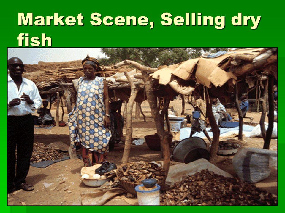 Market Scene, Selling dry fish