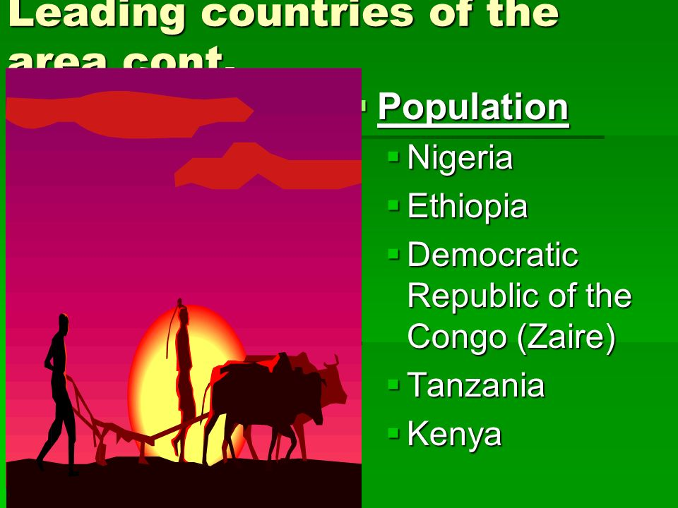 Leading countries of the area cont.