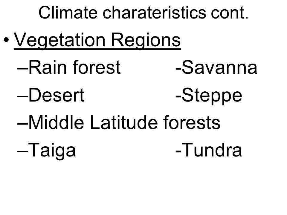 Climate charateristics cont. Vegetation Regions –Rain forest-Savanna –Desert-Steppe –Middle Latitude forests –Taiga-Tundra