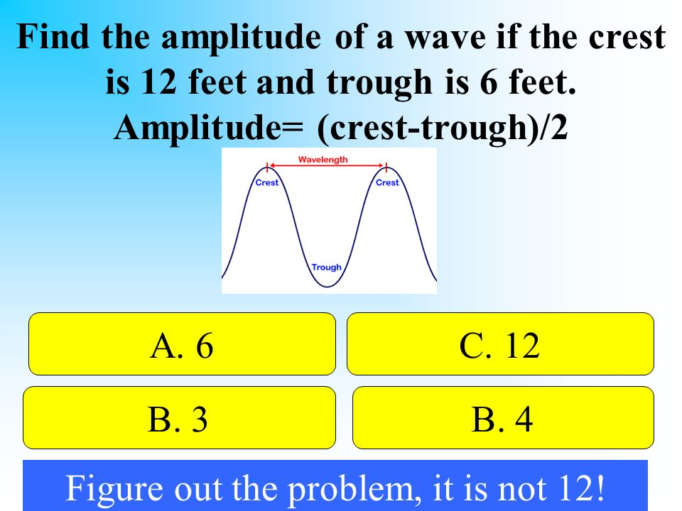 50:50 Give Hint. Find the amplitude of a wave if the crest is 12 feet and trough is 6 feet.