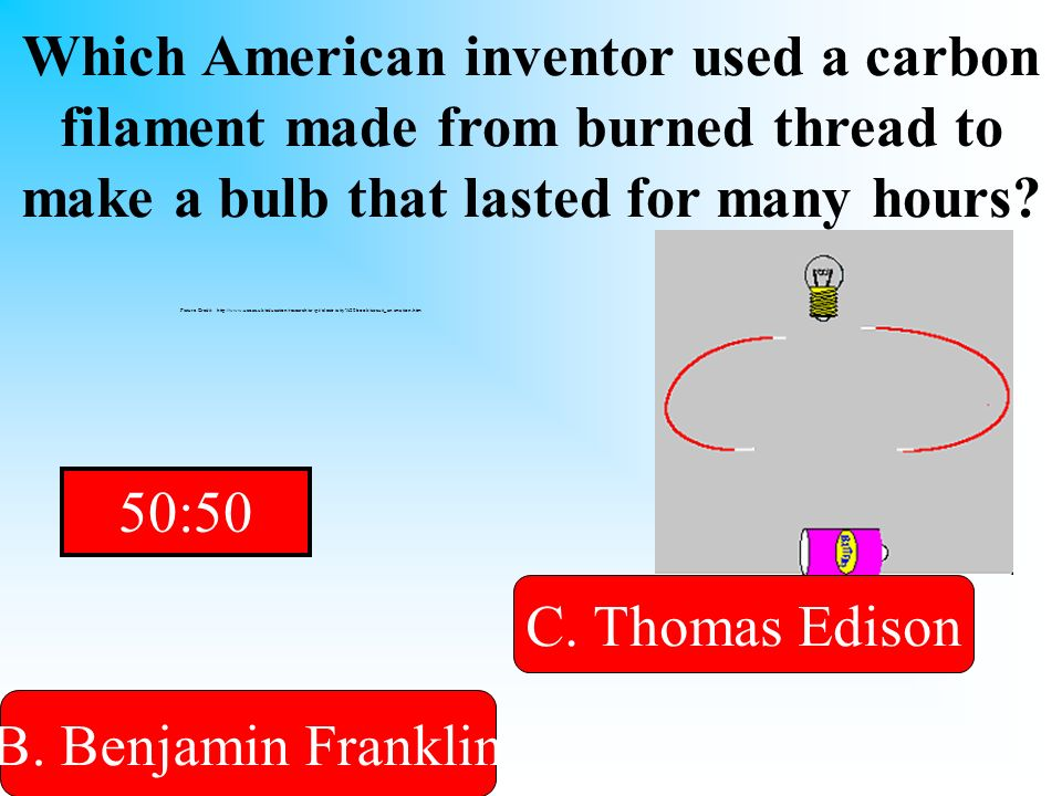 Which American inventor used a carbon filament made from burned thread to make a bulb that lasted for many hours.
