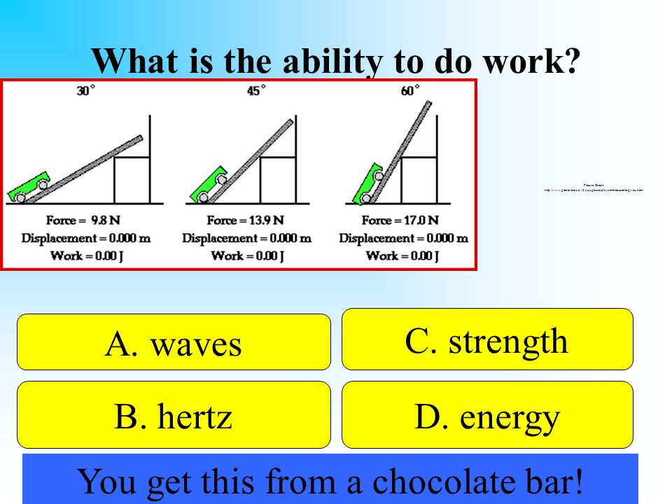 What is the ability to do work? 50:50 Give Hint! A. waves B. hertzD. energy C. strength Picture Credit: http://www.glenbrook.k12.il.us/gbssci/phys/mme