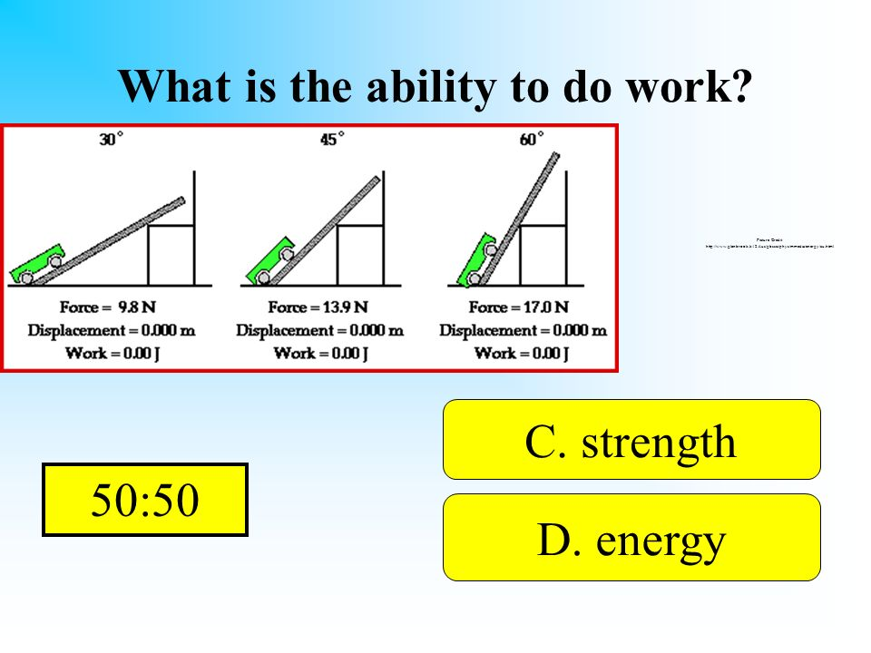 What is the ability to do work? A. waves B. hertzD. energy C. strength You get this from a chocolate bar! Picture Credit: http://www.glenbrook.k12.il.