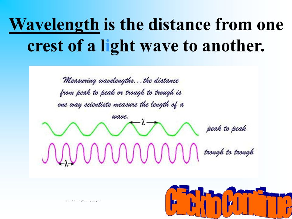 You have 10 seconds to ask someone sitting beside you for help! What is the distance from one crest of a light wave to another called? A. wave B. freq