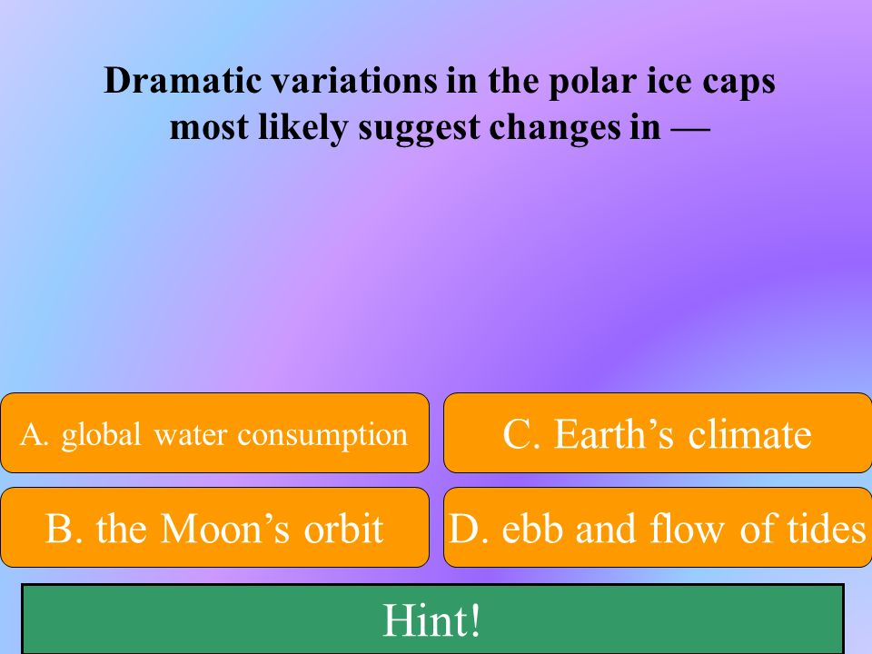 50:50 Give Hint! A. global water consumption B. the Moons orbitD. ebb and flow of tides C. Earths climate Dramatic variations in the polar ice caps mo