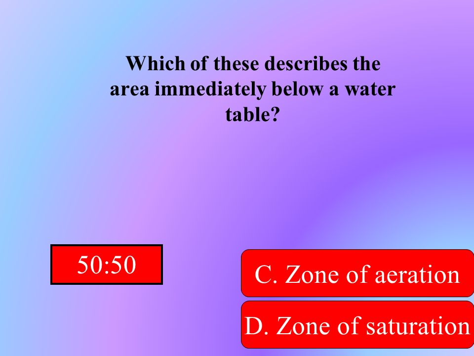 Hint! Which of these describes the area immediately below a water table? A. Recharge zone B. Capillary zoneD. Zone of saturation C. Zone of aeration