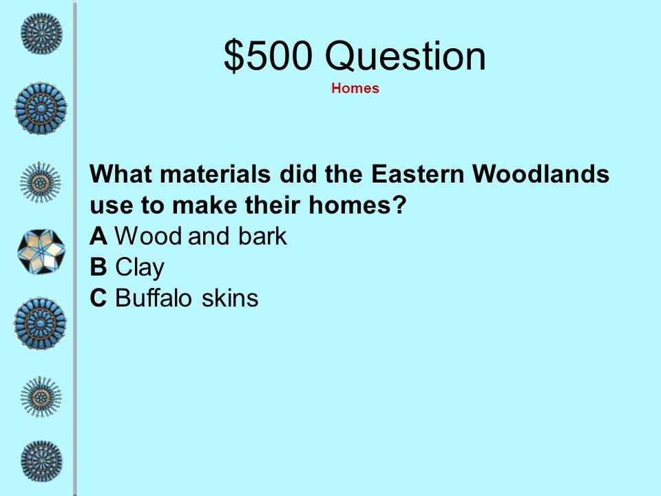 $400 Answer Homes C Stones, logs, and sun-dried clay ??