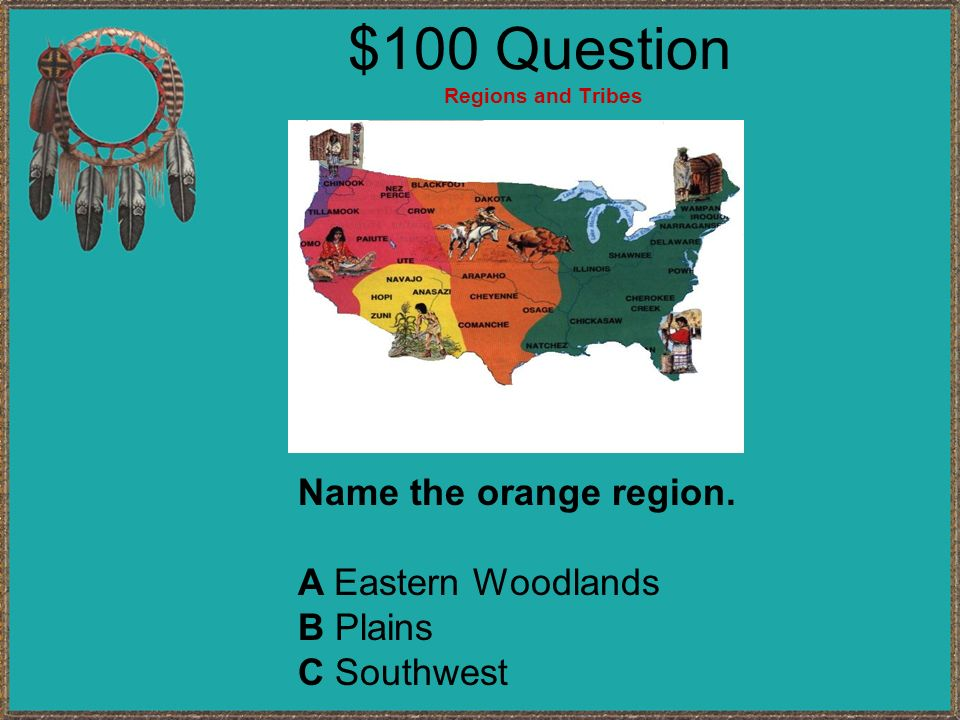 American Indian Jeopardy Regions and Tribes Occupations Q $100 Q $200 Q $300 Q $400 Q $500 Q $100 Q $200 Q $300 Q $400 Q $500 Final Jeopardy Transport