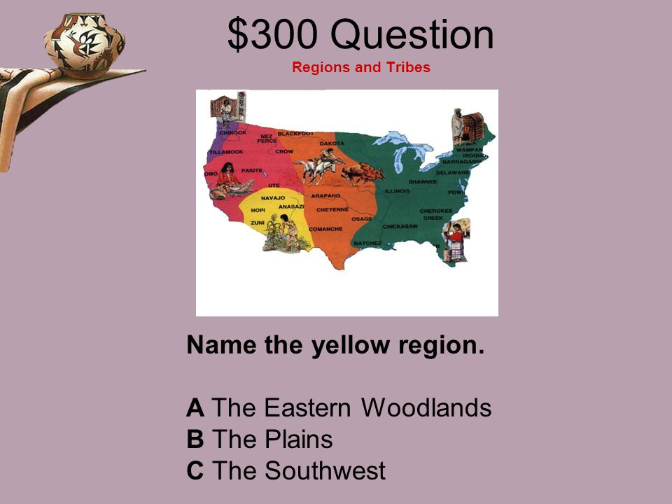 $300 Question Regions and Tribes Name the yellow region.