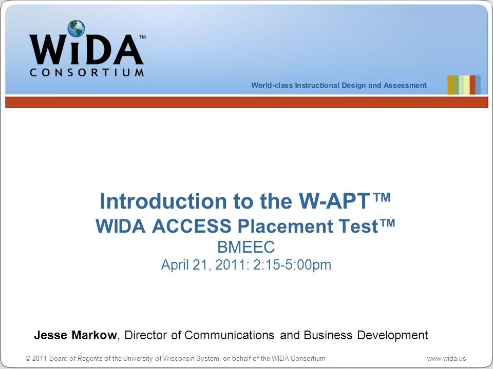 Intro to W-APT – WIDA ACCESS Placement Test 22 WIDA Consortium / CAL / MetriTech District Test Coordinator Enters User Name & Password