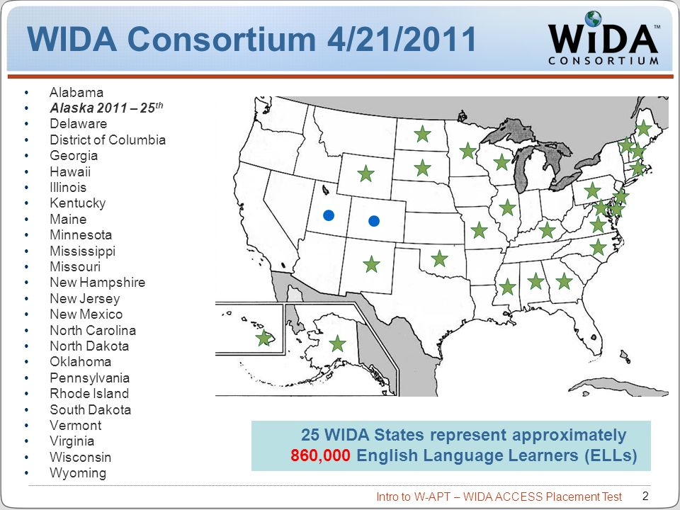 Intro to W-APT – WIDA ACCESS Placement Test 3 WIDA Consortium / CAL / MetriTech Language Proficiency and Content Knowledge