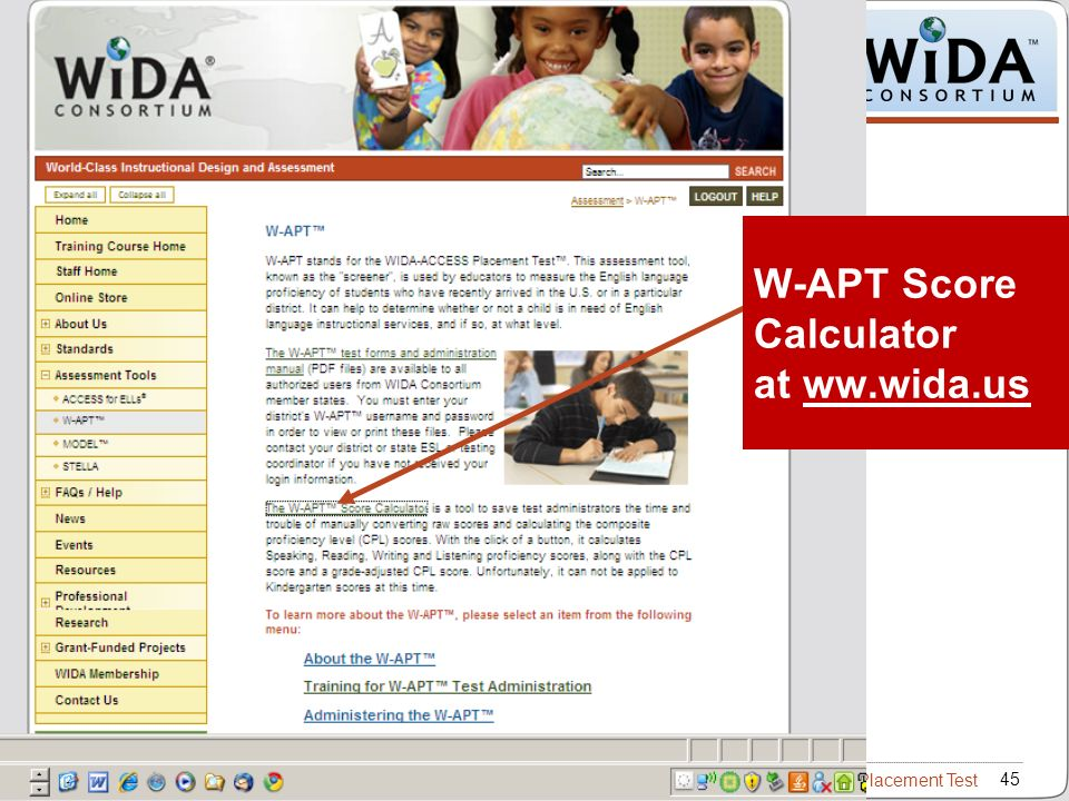 Intro to W-APT – WIDA ACCESS Placement Test 45 W-APT Score Calculator at ww.wida.us