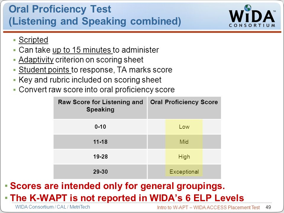 Intro to W-APT – WIDA ACCESS Placement Test 49 Oral Proficiency Test (Listening and Speaking combined) Scripted Can take up to 15 minutes to administe