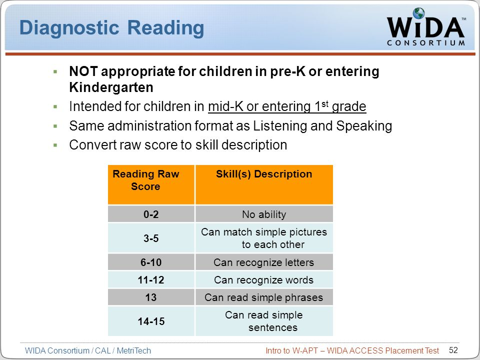Intro to W-APT – WIDA ACCESS Placement Test 52 WIDA Consortium / CAL / MetriTech Diagnostic Reading NOT appropriate for children in pre-K or entering