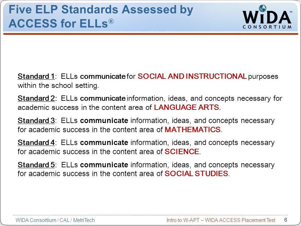 Intro to W-APT – WIDA ACCESS Placement Test 17 ACCESS for ELLs and W-APT Connection * Kindergarten ACCESS – No Tier, Adaptive W-APT 1–12 ENTERINGBEGINNINGDEVELOPINGEXPANDINGBRIDGING 12345 Tier A Tier B Tier C 6 REACHINGREACHING ACCESS for ELLs WIDA Consortium / CAL / MetriTech