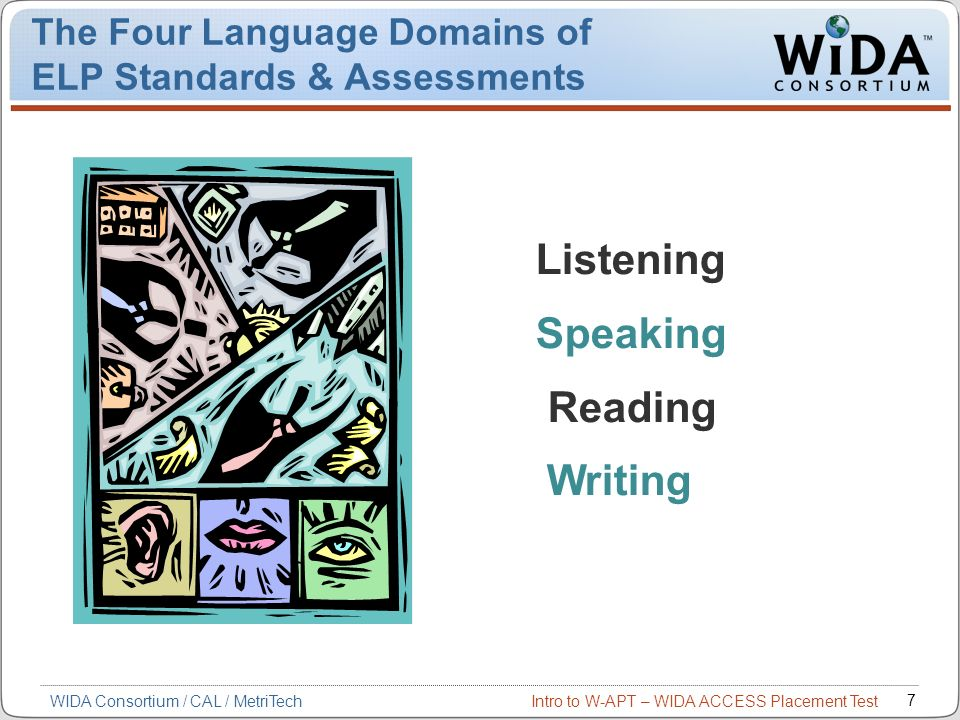 Intro to W-APT – WIDA ACCESS Placement Test 7 WIDA Consortium / CAL / MetriTech The Four Language Domains of ELP Standards & Assessments Listening Spe