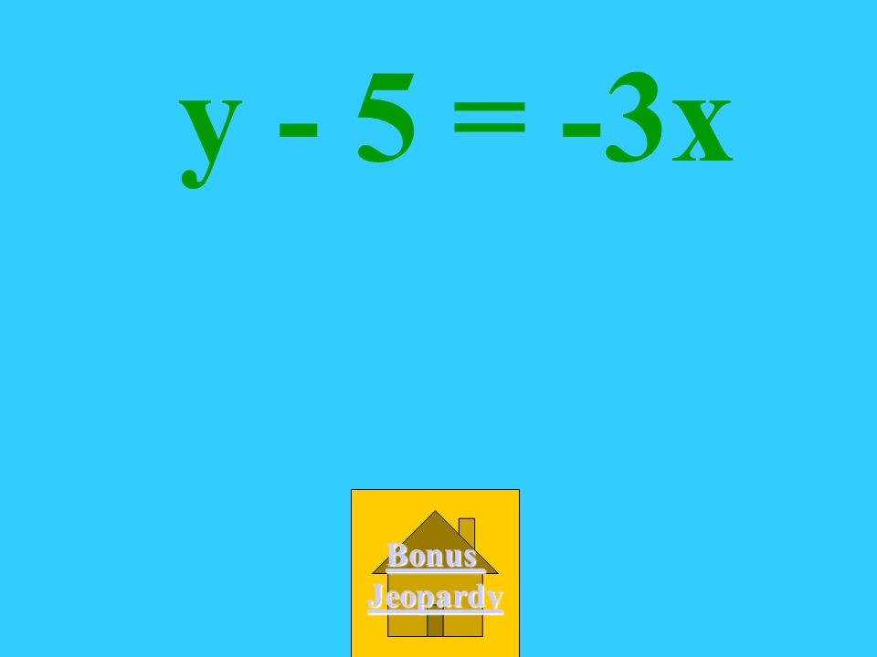 Which is an equation of the line with the slope -3 and a y-intercept of 5? A. y = -3(x + 5) B. y - 5 = -3x C. -3x + y = 5 D. y = 5x -3