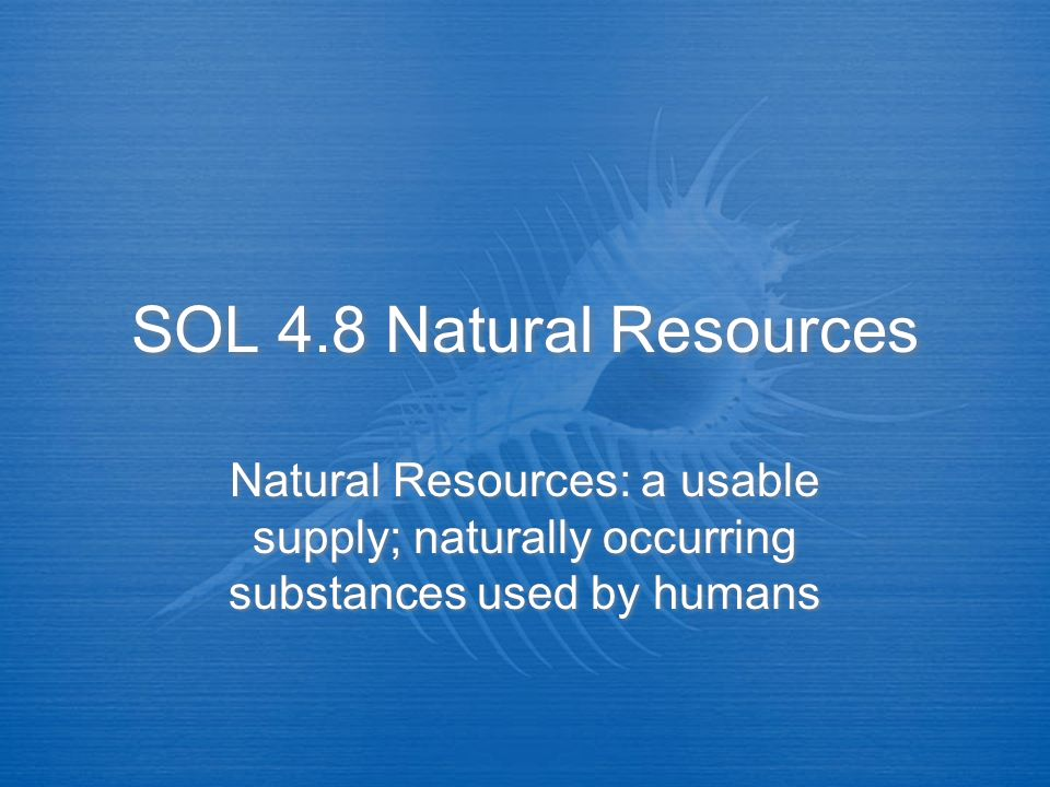 SOL 4.8 Natural Resources Natural Resources: a usable supply; naturally occurring substances used by humans