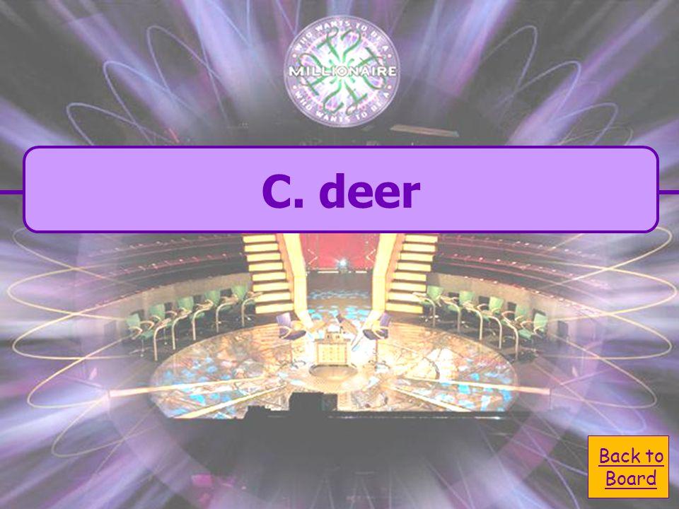 A. polar bear C. deer C. deer B. hyena D. lion D. lion Which is not a carnivore?