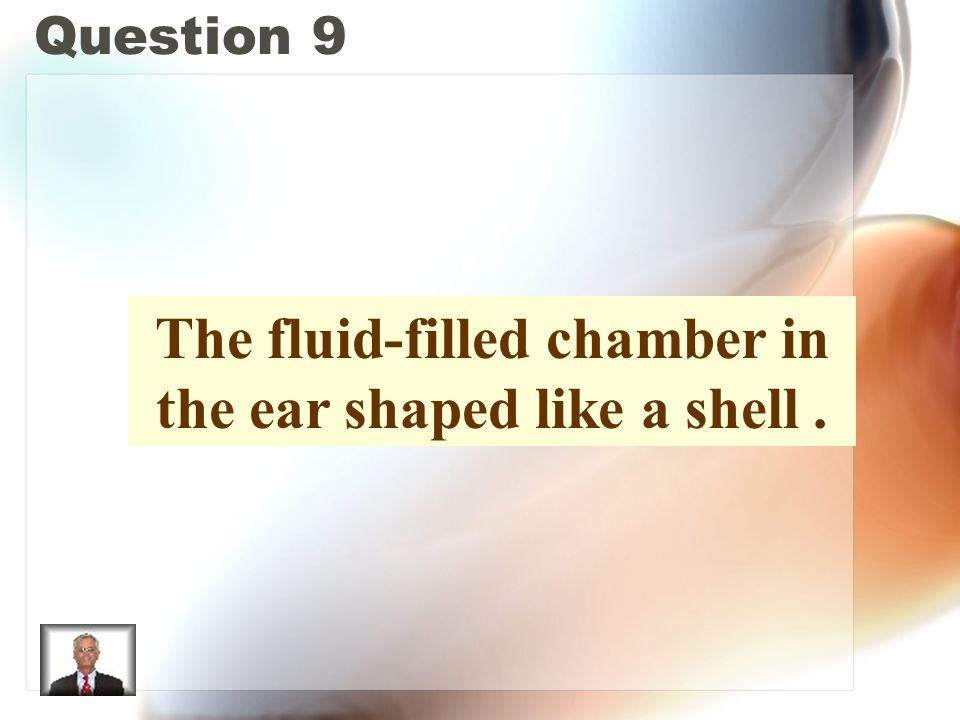 Question 9 The fluid-filled chamber in the ear shaped like a shell.