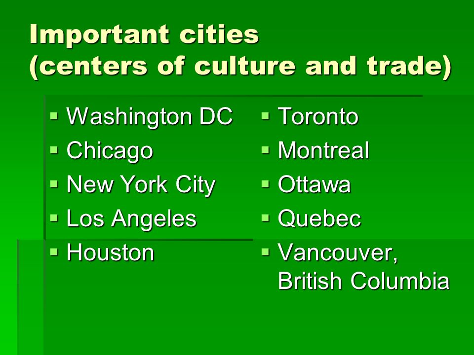 Important cities (centers of culture and trade) Washington DC Washington DC Chicago Chicago New York City New York City Los Angeles Los Angeles Housto