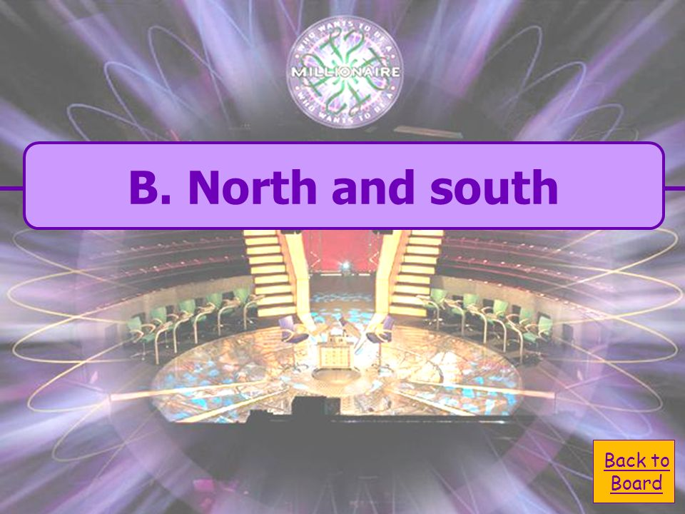 B. north and south Lines up latitude run - A. west and south C. east and north D. east and west