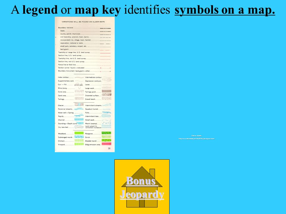 A legend or map key identifies ______________. A.