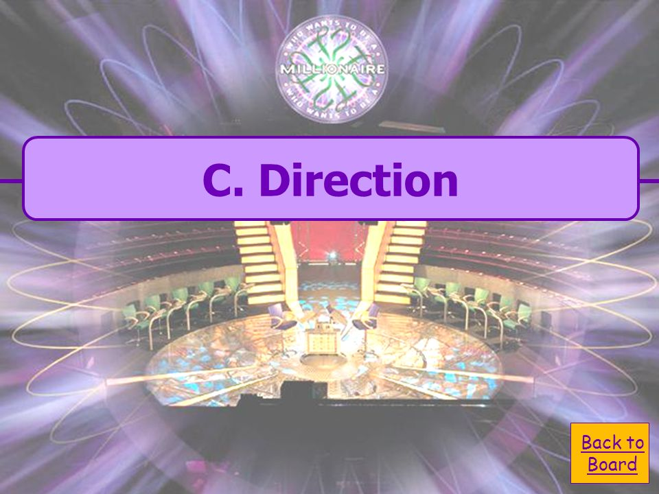 C. Direction C. Direction What does the compass rose on a map show A. Shape B. Title D. Size