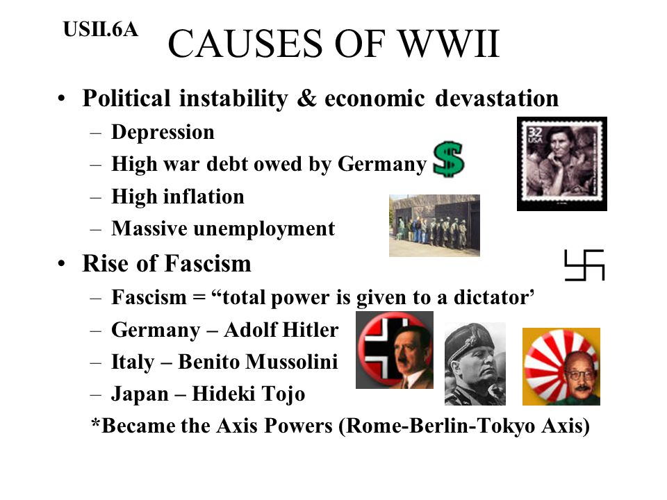 CAUSES OF WWII Political instability & economic devastation –Depression –High war debt owed by Germany –High inflation –Massive unemployment Rise of F