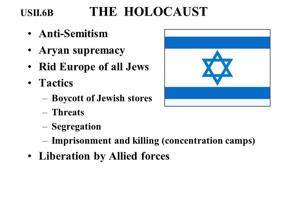 THE HOLOCAUST Anti-Semitism Aryan supremacy Rid Europe of all Jews Tactics –Boycott of Jewish stores –Threats –Segregation –Imprisonment and killing (